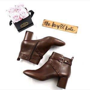 Alex Marie Brown Leather Heeled Booties
